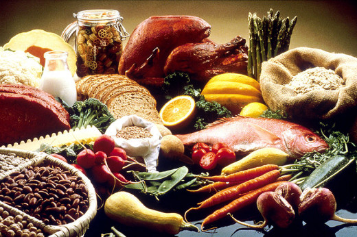 A well balanced diet consists of grains, fruits, vegetables, proteins, and dairy.