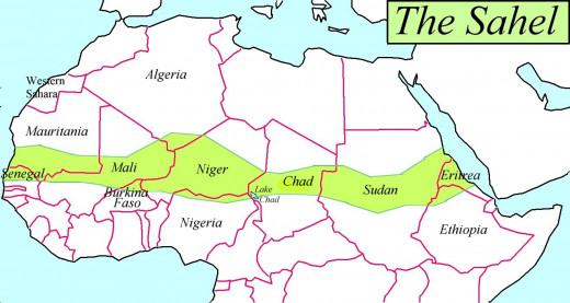 South of the Sahara Desert, an area known as the Sahel.