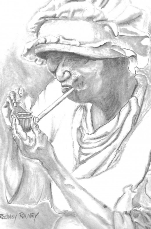"My interpretation of ""The Pipe Smoker"" from the Old Character Series by P.H. Polk"
