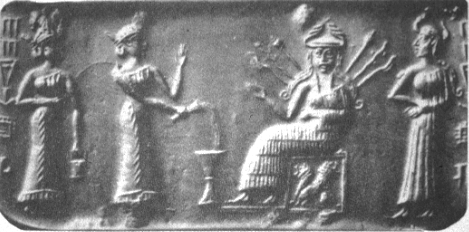 Cylinder seal showing Inanna on her throne c.2000-1600 B.C