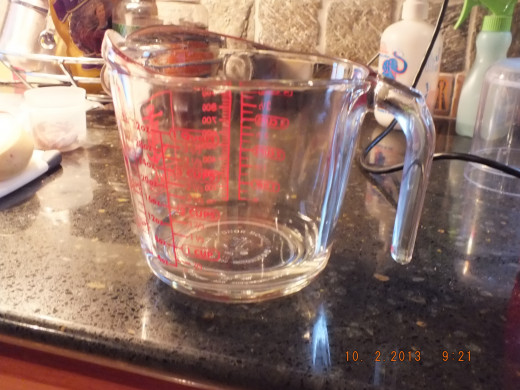 I start with 1/4 cup water in this large measuring cup because I can mix everything in one vessel.