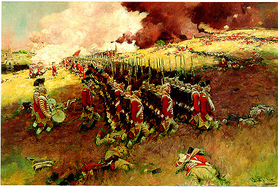 A painting by Howard Pyle showing the Redcoats advancing at the Battle of Bunker Hill