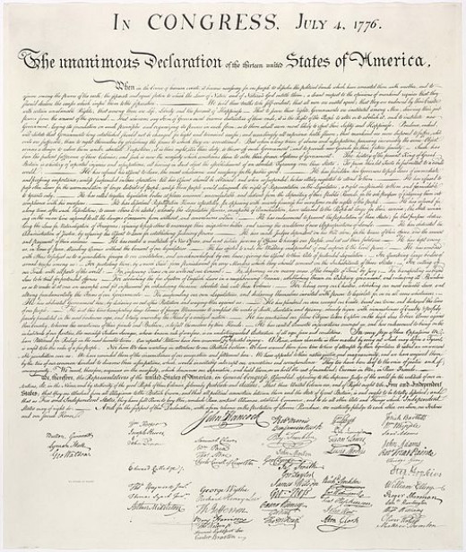 A copy of the US Declaration of Independence signed on the 4th July, including John Hancock's famous signature.
