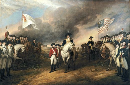 A portrait showing British Commander Lord Cornwallis surrendering to George Washington at Yorktown in 1781.
