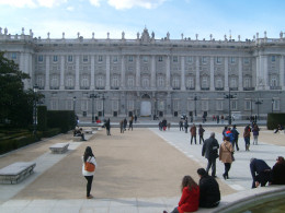 A view of the royal palace from Plaza de Oriente