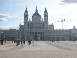 Catedral Santa Maria la Real de la Almudena can be seen from the palace courtyard.