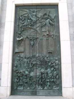 One of three ornate doors to the cathedral.
