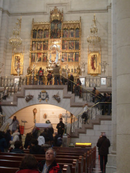 People can walk up to the altarpiece which shows the image of the Almudena virgin, for whom the cathedral is named after.