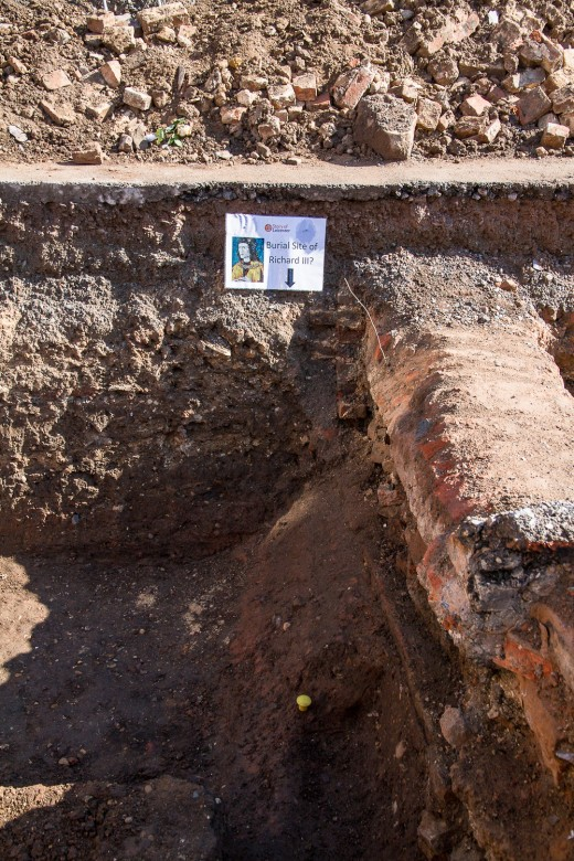 The grave site of Richard III, discovered in Leicester on 25 August 2012.