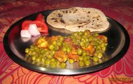 mattar paneer with roti