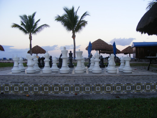 They are many activities at the Allegro. Including a giant chess board, located by the beach.