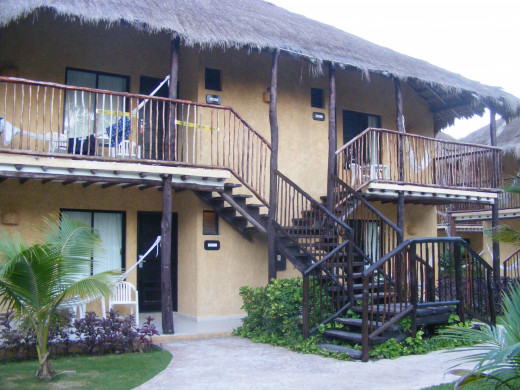 The rooms on the resort are separated into cabins of eight. Four on each side.