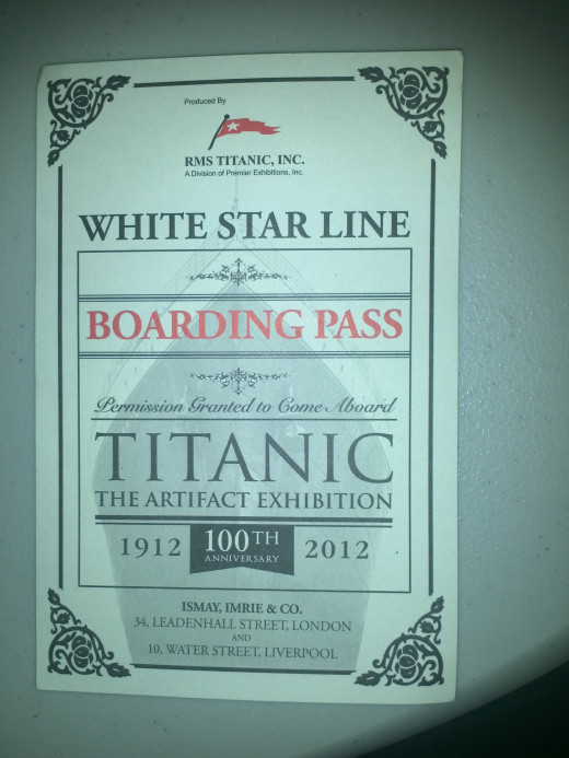 Titanic Exhibition Boarding Pass