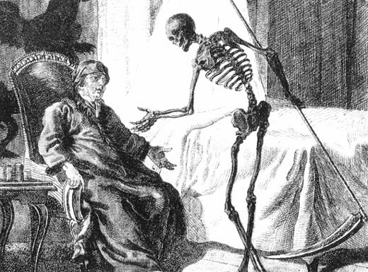 A Western depiction of Death as a skeleton carrying a scythe