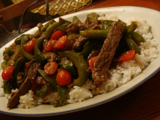 Pepper steak and tomato is a favorite with my family, and easy on the budget.