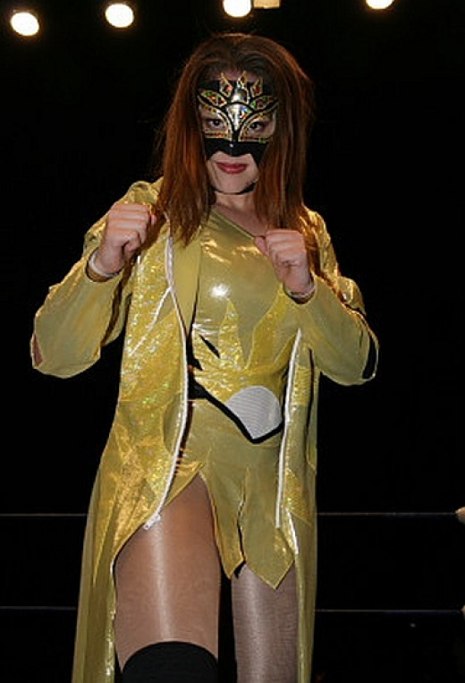 Aurora as the masked luchadora Goddess