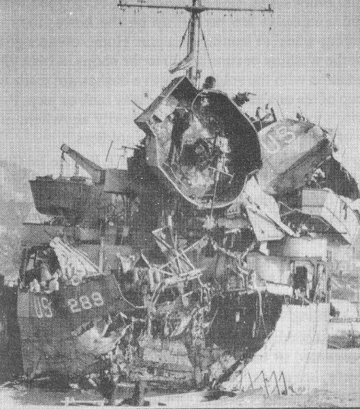 Stern Damage on Landing Ship Tank LS-289