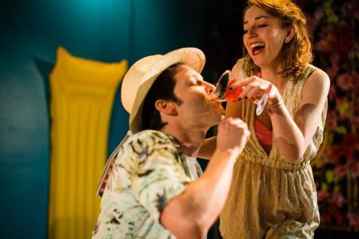 Marc Callahan (Belcore) and Una Reynolds (Adina) star in sparkling romantic opera L'elisir d'amore, showing at the King's Head Theatre in Islington.  Booking now until 16th March 2013.