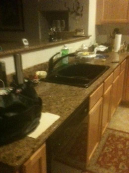 Kitchen sink and floor