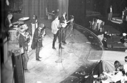 The Byrds on the famous revolving stage at the Hullabaloo Club in Hollywood- 1966