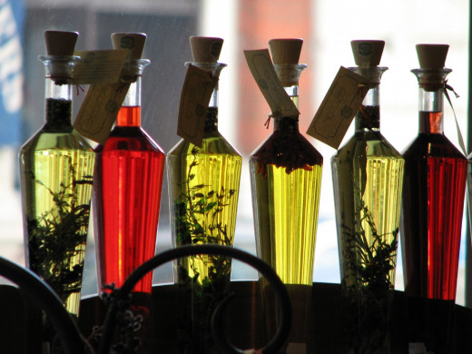 A selection of flavoured and non flavoured oils.