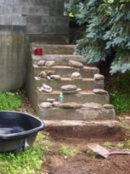 This is the old cement steps that they started with.