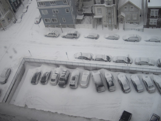 Notice the cars: they're not getting out anytime soon!