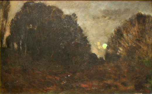 An example of a painting from the Barbizon school.  Charles-François Daubigny, Rising Moon in Barbizon (19th century)