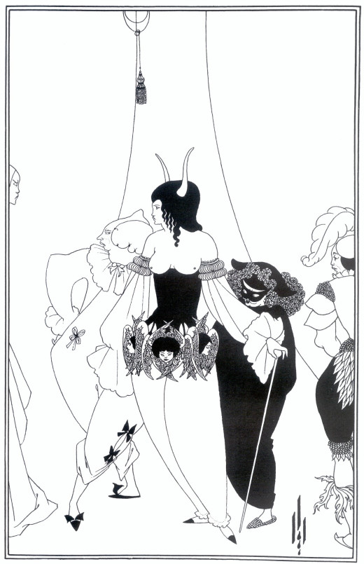 Typical European pen and ink illustration of E.A. Poe's work.  Aubrey Beardsley (1894-1895)