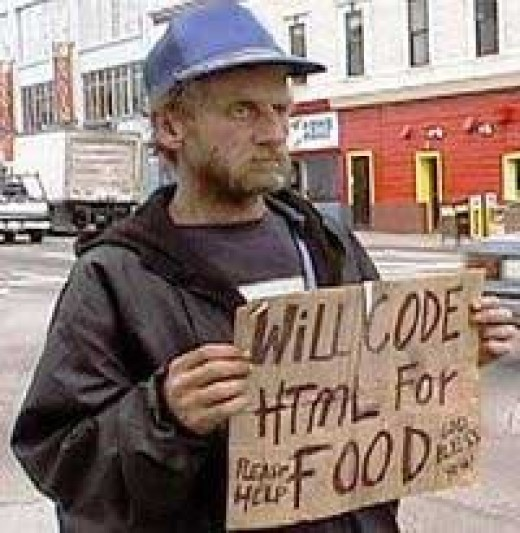 "An unemployed man holding a ""Will Work for Food"" message."
