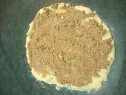 Image: Spreading Turkey Filling Over Biscuit Base