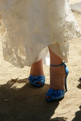 """My """"something blue"""" on my wedding day in Spain--blue heels with bows!"""