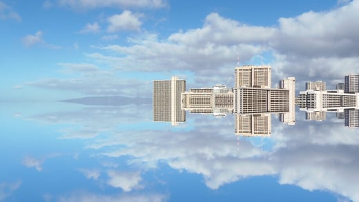 Another sky mirror of Waikiki hotels floating in Blue clouds, reflecting sky above and below