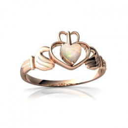 14k Rose Gold Genuine Opal Celtic Claddagh Ring. Scroll down to see other designs and models.
