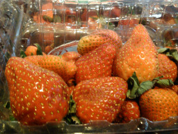 Fresh strawberries, thinly sliced, resemble hearts.  In addition, they are wonderful when dipped in chocolate!