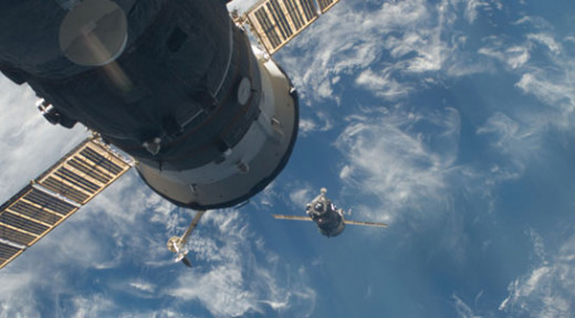 A Soyuz spacecraft approaches the International Space Station