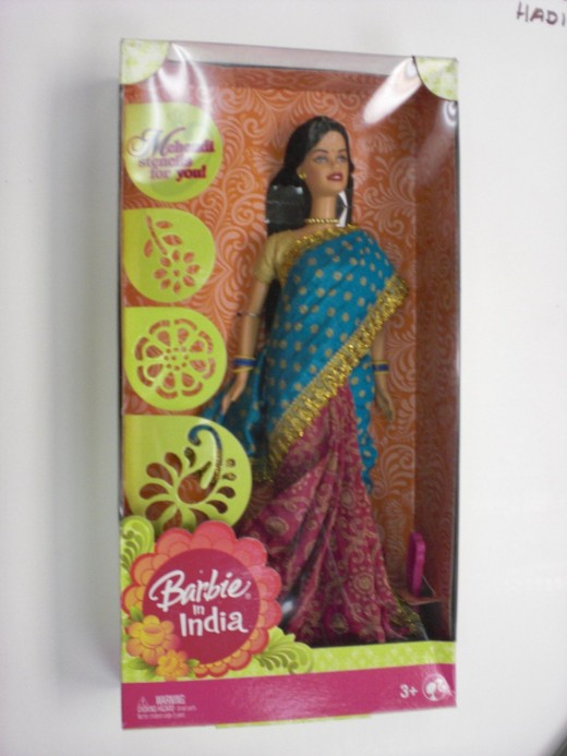 Barbie doll in a pretty party wear saree