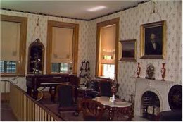 """The parlor contains furnishings original to U.S. Grant and his wife, including items shipped home on their """"world tour."""""""