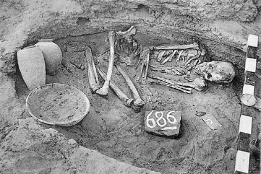 An excavated Nubian grave site.