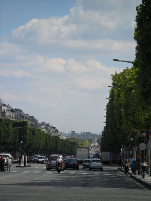 View down Les Champs Elysées from L'Arc de Triomphe to the Place de la Concorde