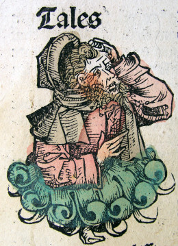 "A medieval depiction of Thales from the ""Nuremberg Chronicles"""