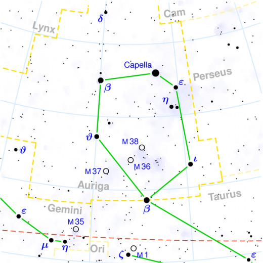 Auriga from a modern starchart, showing the principle stars and deep-sky objects.  The constellation is shown joined to Taurus, with which it shares a star.