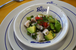 "Ceviche Verde as served in the Mexican Restaurant ""El Bajio"", a great Mexican street food restaurant with low budget prices and authentic flavor."