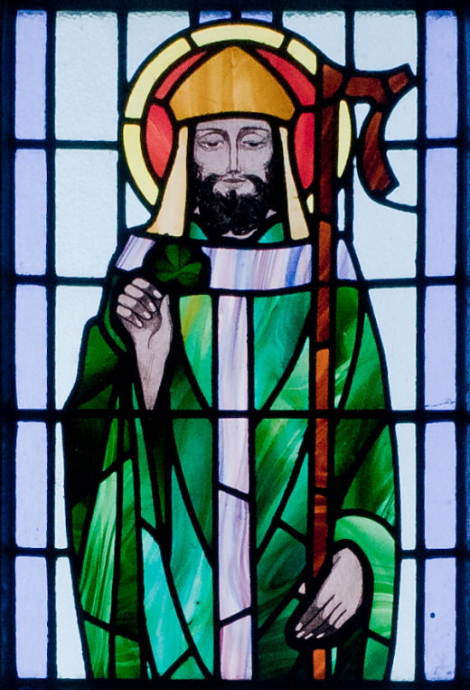 St. Patrick depicted in a stained glass window at St. Benin's Church, Ireland