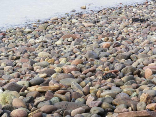 large sea pebbles at the seaside