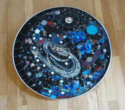 Spiral Galaxy Space Mosaic, stained glass, dichroic glass, pearls, crystals, vintage jewelry.  Sold.