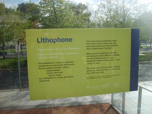 The lithophone is displayed at the courtyard of Questacom for kids to play.