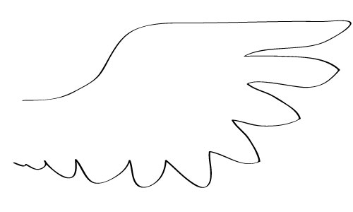 Simple Wing Design - no details, only a cartoonlike outline of the feathers of a wing.