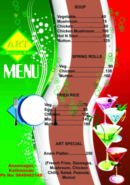 Design and the décor of the restaurant  should be reflected in your menu design.