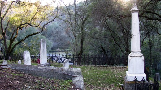 This is the family plot where the Lady in Burgundy is most often seen by passersby driving past the cemetery.  My chair was positioned behind and slightly above this area.